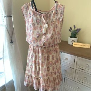 M Hollister Cream, Pink & Blue Tribal Design Dress
